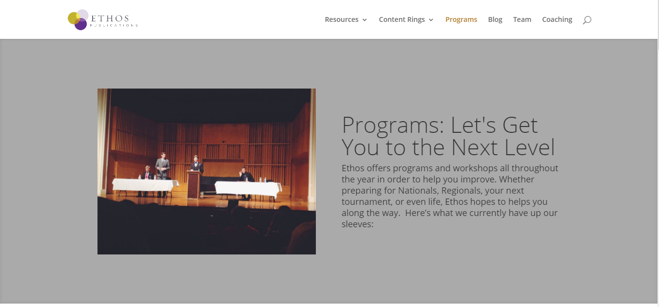 """New """"Programs"""" Page"""